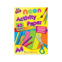 A4 Fluorescent Neon Bright Coloured Colour Neon Paper Art Craft 40 Sheets