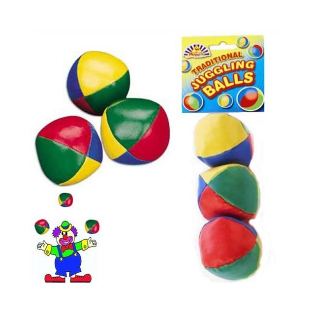 Set Of 3 Traditional Juggling Balls Multi Coloured Clown & Circus Style