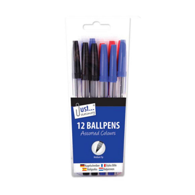 12 x Packet of Office School Ball Point Pens, Black Blue and Red Biros Mixed Pack