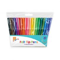 20 x Felt Tip Art Craft Children's Kids Fibre Pens Assorted Colours Pack