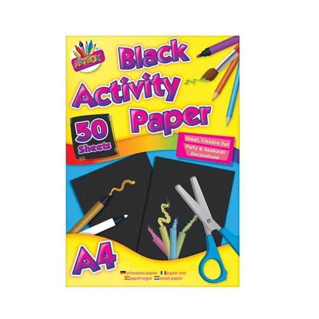 A4 Black Coloured Paper Childrens Kids Art Craft Drawing Pad 50 Sheets