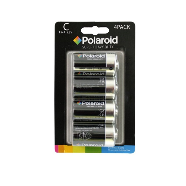 4 x Polaroid C Type 1.5v R14P Heavy Duty Battery Mercury Free Batteries Pack