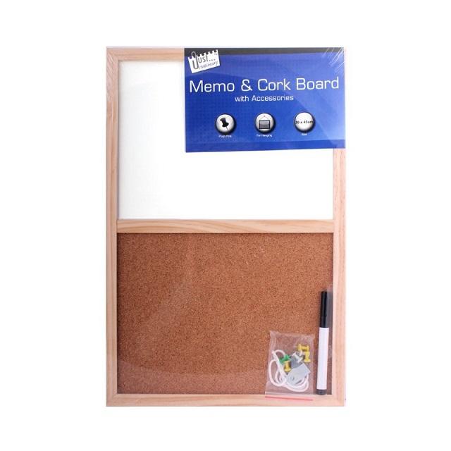 Split Memo Dry White Wipe Board & Cork Board Kitchen Office Home 45cm x 30cm