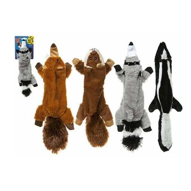 Cuddly Tug & Squeak Unstuffed Dog Toy Skunk, Fox, Racoon & Beaver