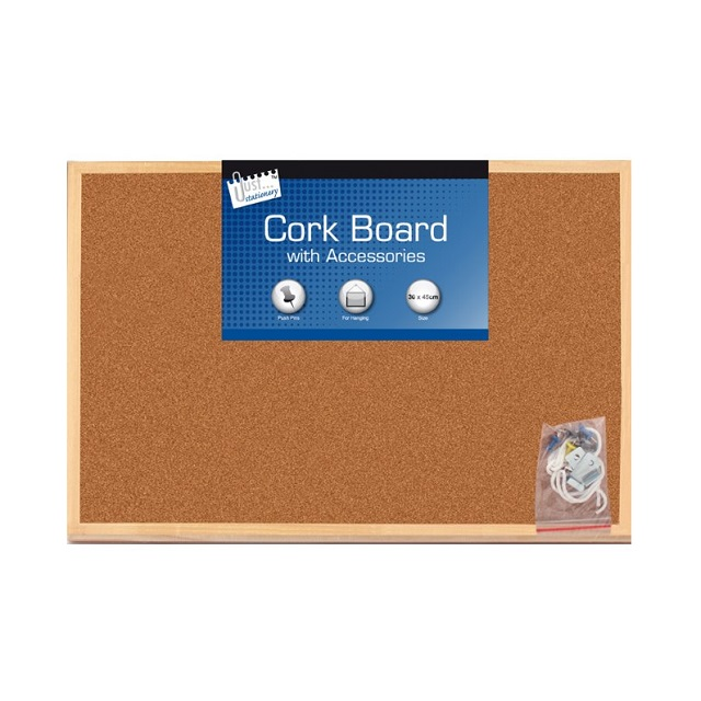 Large Kitchen Office Cork Notice Wooden Board 30 x 45cm + 6 x Pins Hanging Cord