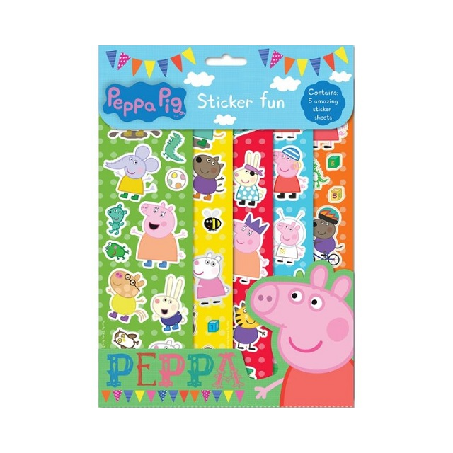 Children's Kids Peppa Pig 5 x Sheets Sticker Fun Party Loot Bag Fillers Reusable