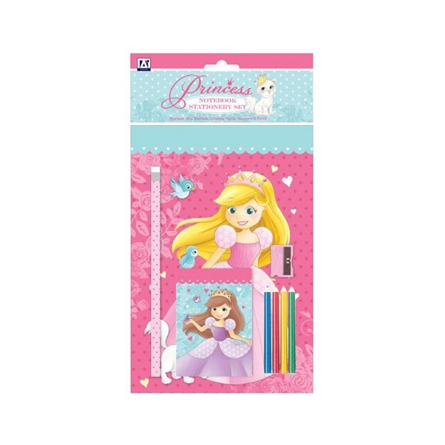 Childrens Girls Pink Princess Stationery Set Party Bag Colouring Pencils Notepad