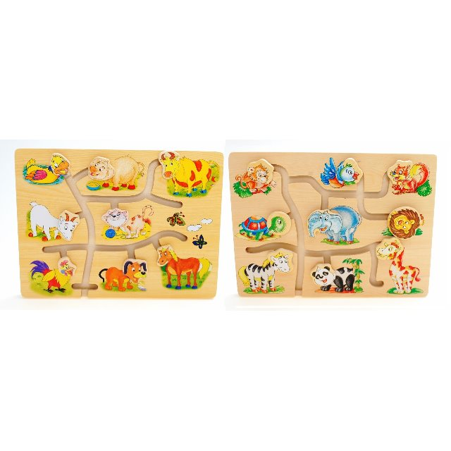 Childrens Kids Wooden Match The Head Animals Game Puzzle Toys Educational Fun
