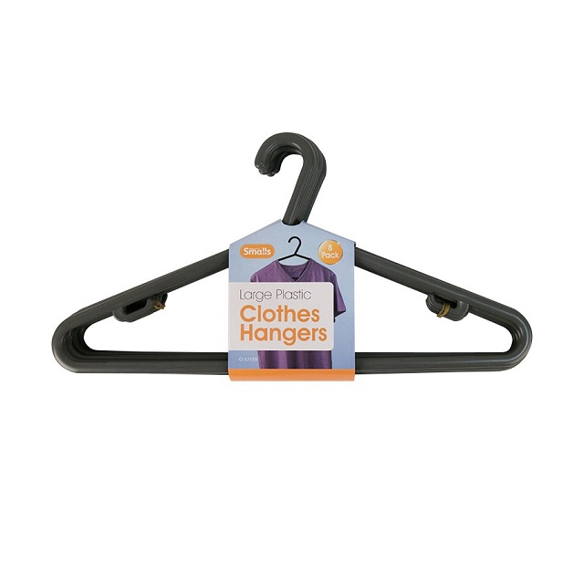 8 x Black Plastic Clothes Hangers Garment Coat Hanger with Trouser Bar Lips