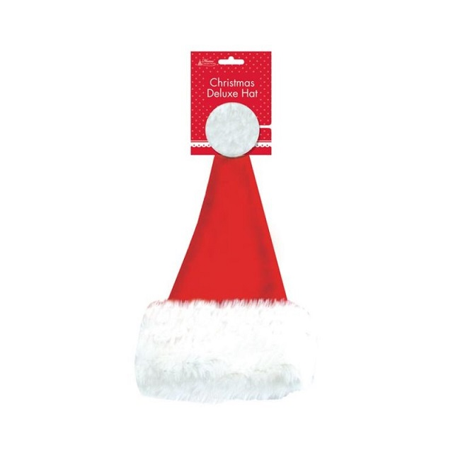 Adult Kids Red Christmas Deluxe Santa Hat Cap Xmas Party Costume Dressing Up
