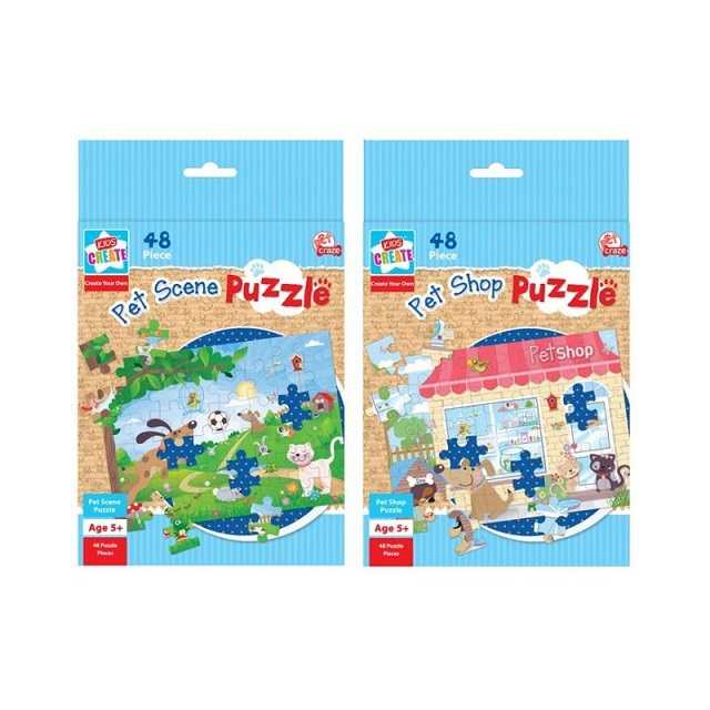 Children's Pet Scene Puzzle 48 Piece Puzzle Toy Party Bag Easy Seal Age 5 +