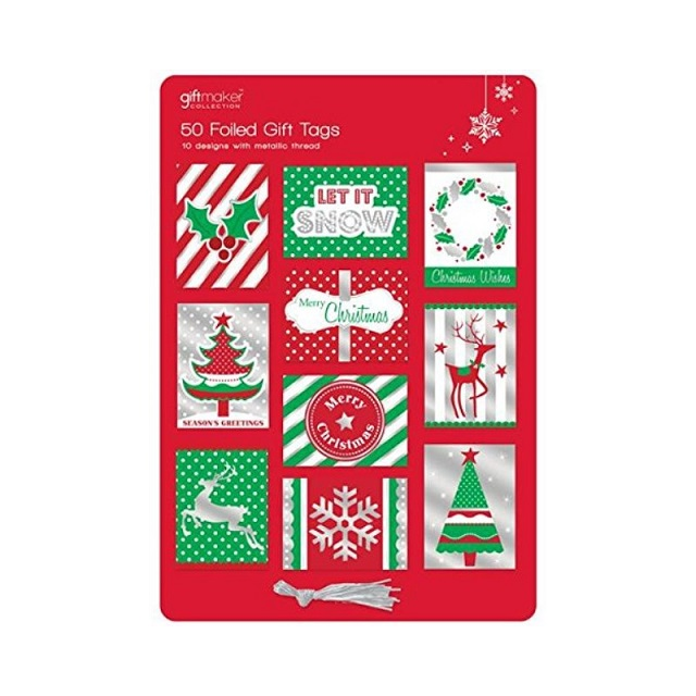 50 x Christmas Xmas Foiled Gift Tags Modern Red Green Silver Card Designs