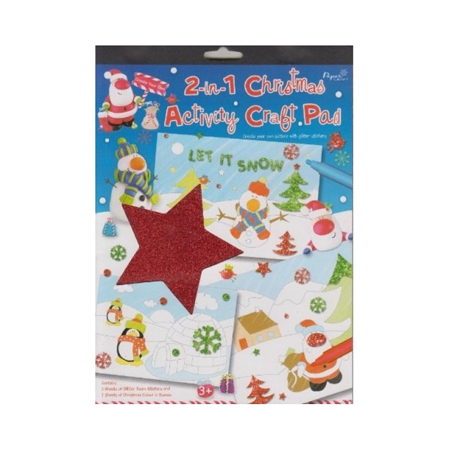 Christmas Activity Craft Pad Glitter Foam Shapes & Colouring Stocking Fillers