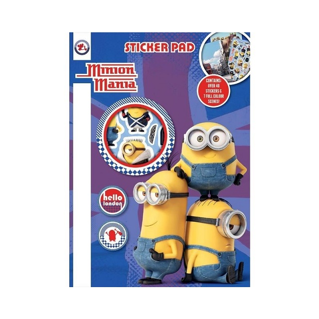 Minion Mania Sticker Pad & Stickers Travel Party Bag Fillers Creative Fun Kids