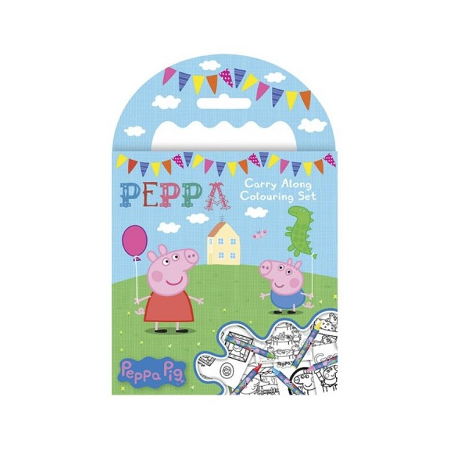 Peppa Pig Mini Carry Along Colouring Book Set Party Bag Stocking Fillers Gift