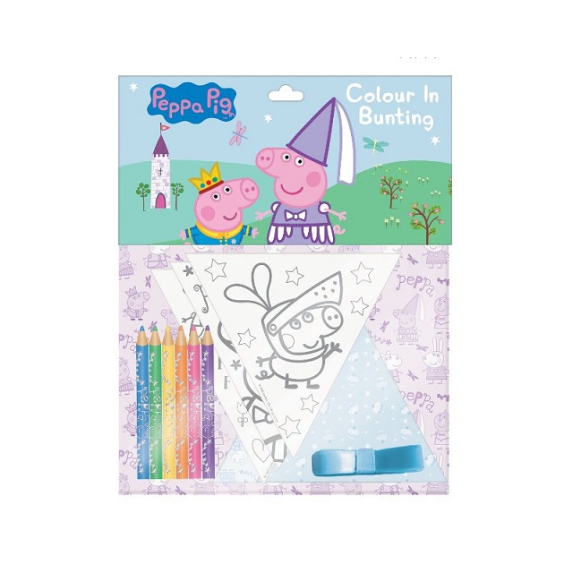 Children's Peppa Pig Colour In Paper Bunting & Colouring Pencils Creative Party