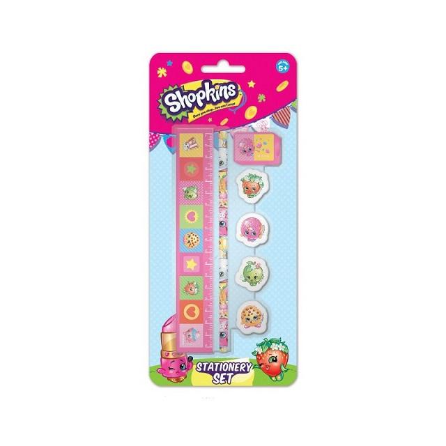 Shopkins 7pc Stationery Set Ruler Eraser Rubbers Pencil Sharpener Party Bag Gift