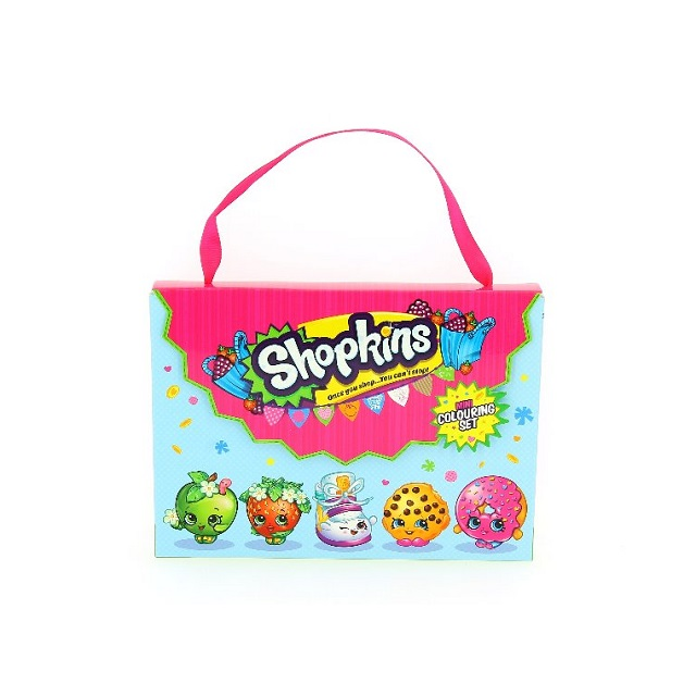 Children's Kids Shopkins Mini Colouring Set 80 Sheets & 6 Colouring Pencils