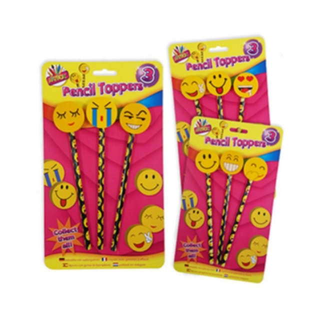 3 Pack Happy Emoji Face Pencils & Eraser Toppers