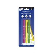 Super-Gel Ultra Bright Neon Writing Highlighters Set of 3 Green Pink Yellow