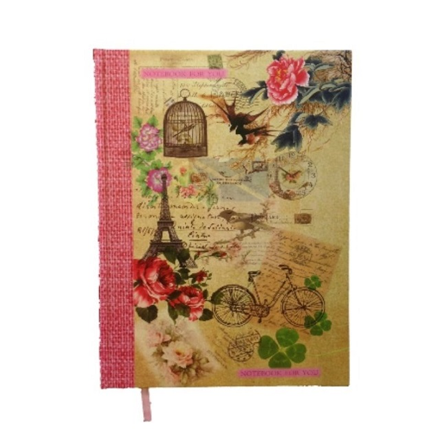 A4 Vintage Shabby Chic Hardback Notebook Lined Paris School College Home Stationery