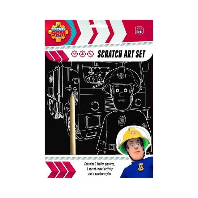 Fireman Sam Scratch Art Set Fun Craft Play For Kids