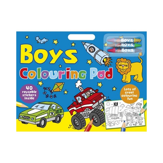Kids Boys Colouring Artist Large Pad With Over 40 Stickers & Coloured Crayons
