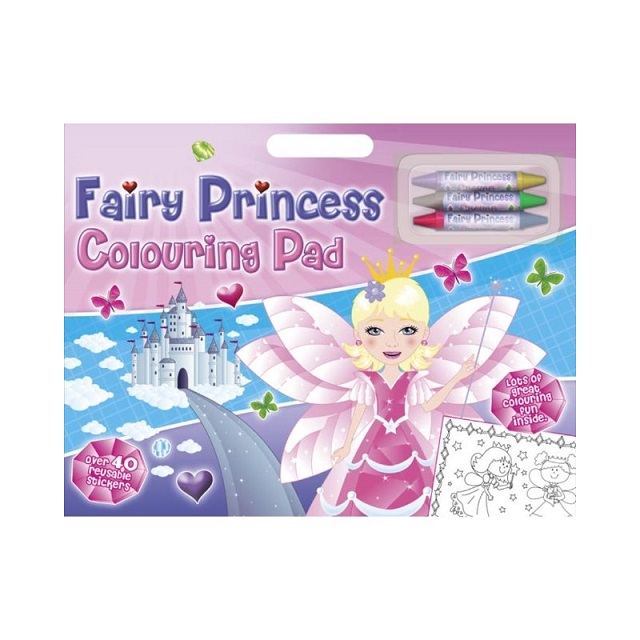 Fairy Princess Colouring Artist Large Pad With Over 40 Stickers & Coloured Crayons