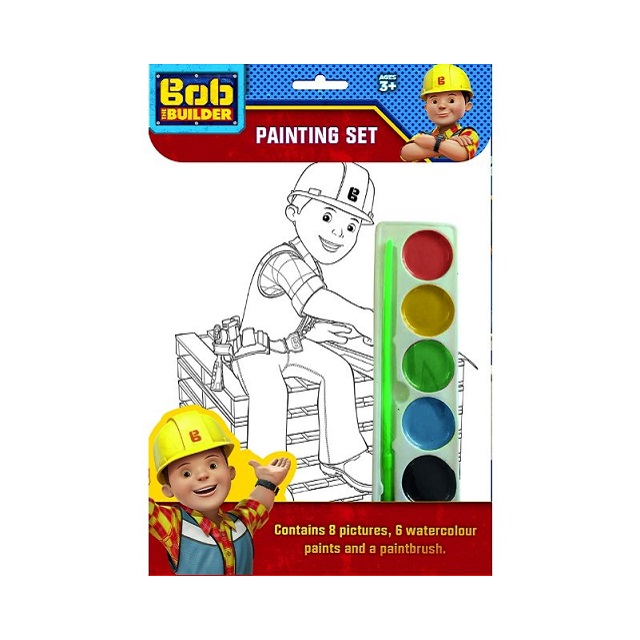 Bob The Builder Painting Set 8 Pictures 6 Water Colours & Paintbrush Party Bag Gift