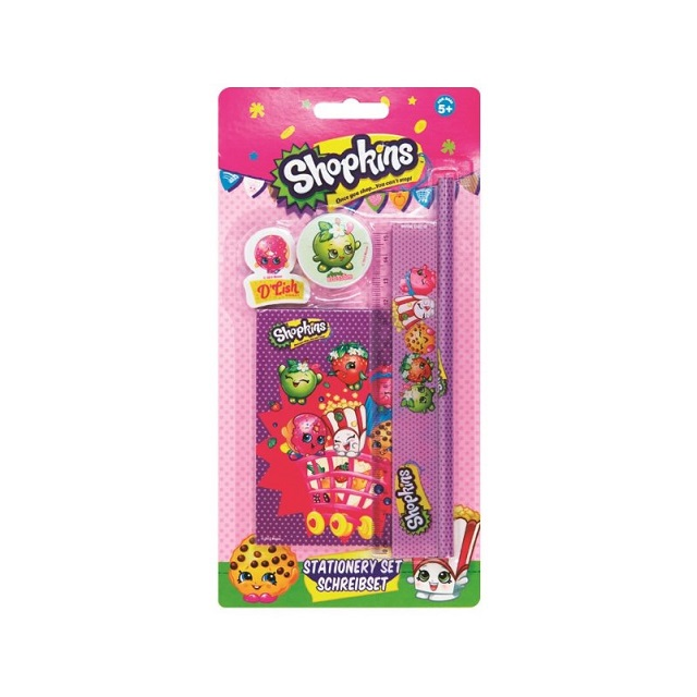 Shopkins 5 Piece Stationery Set - Pencil Ruler Sharpener Eraser Notebook Gift School
