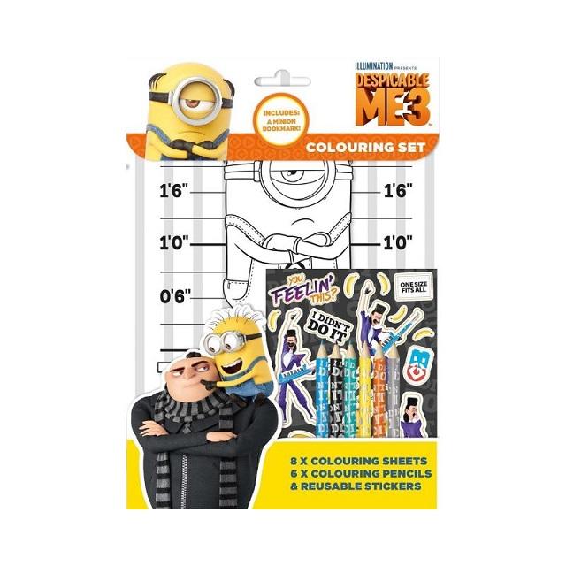 Despicable Me 3 Minions Colouring Set Pad Stickers Party Favour Activity Set Kids