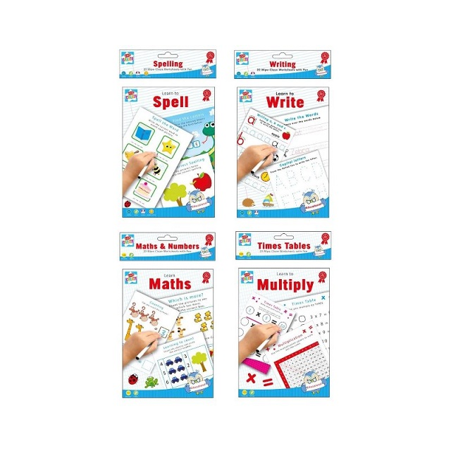 Wipe Clean Educational Fun Learning Books Writing Spelling Maths Numbers Times Table