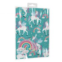 2 Sheets of Unicorn Birthday Gift Wrap Wrapping Paper and Gift Tags
