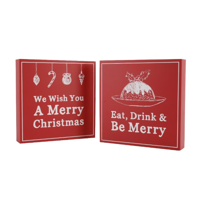 2 x Assorted Hanging Wooden Red Christmas Xmas Wall Art Free Standing