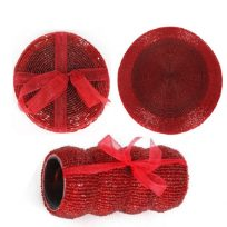 Beaded Napkin Rings Coasters Or Place Mats - Red