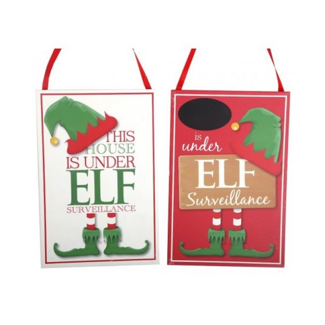 Christmas Elf Surveillance Plaques Two Designs House Or Childs Name Chalk Board