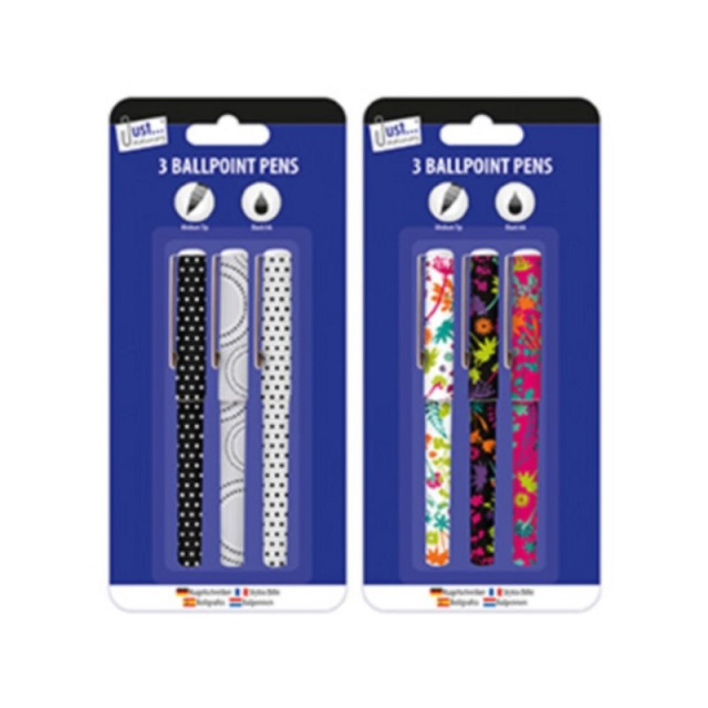 3 x Ballpoint Pens Spotty Or Flowers Design Gift School Home Party Bag fillers