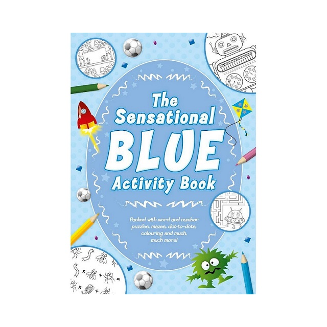 Kids Children's Blue Activity Book Learning Colouring Puzzles Mazes Dot To Dot