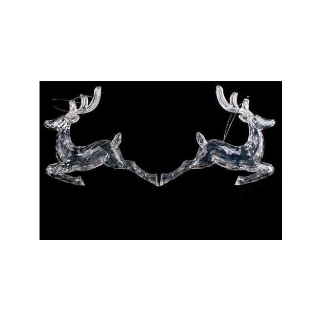 2 x Christmas Xmas Decoration Acrylic Hanging Reindeer Clear Glam Festive Stunning