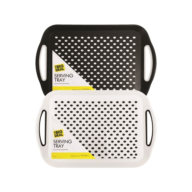 1 x Large Plastic Rectangular Non-Slip Top & Bottom Serving Tray Handles Food Drinks