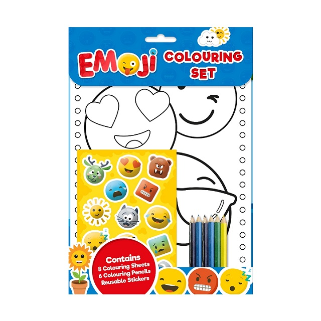 Emoji Colouring Set Pencils Stickers Kids Creative Fun
