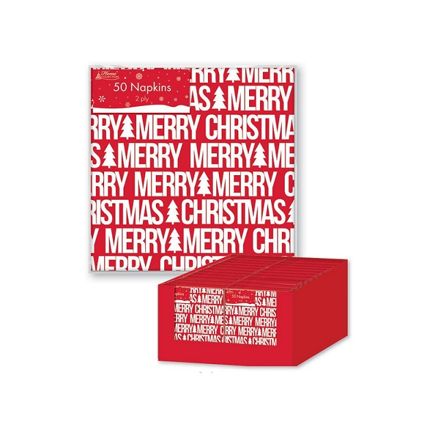50 x Red Christmas Napkins Merry Christmas Font Design Party Dinner