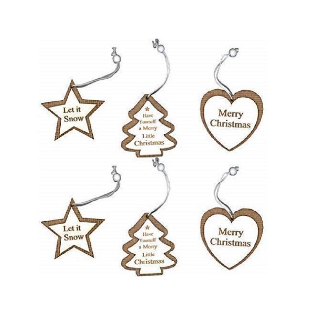 Set Of 6 Wood & Hessian Hanging Christmas Decorations Hearts Trees Stars & Slogans