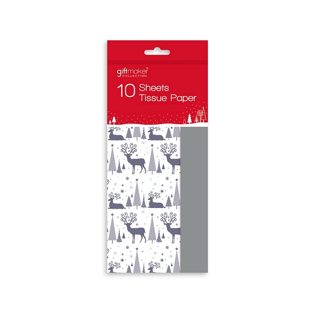 10 Sheets Of Festive Christmas Wrapping Tissue Paper Reindeer, Traditional & Ho Ho Ho