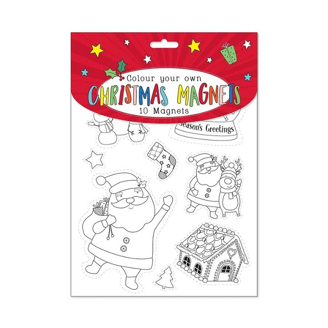 10 Colour Your Own Christmas Magnets & Crayons Set Plus Stickers