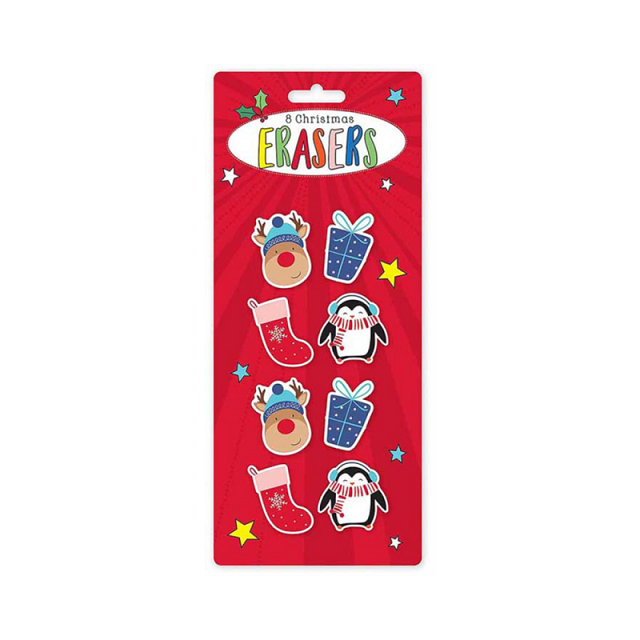 8 Christmas Novelty Fun Erasers / Rubbers - Rudolph Penguin Present & Stocking Designs