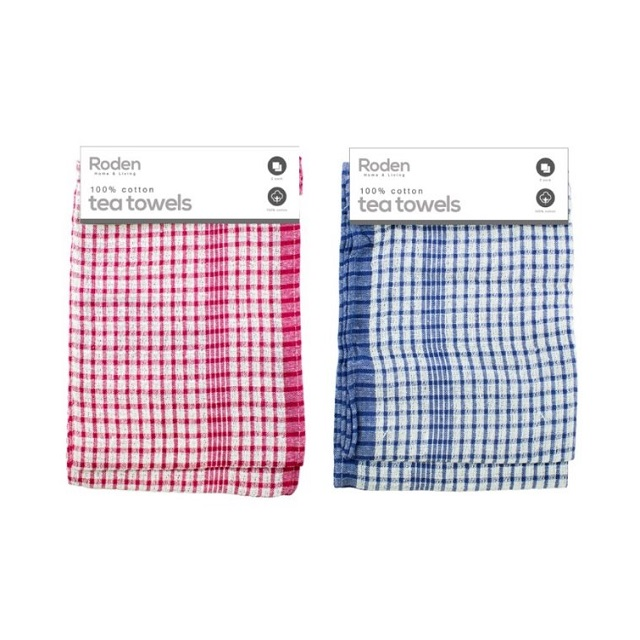 2 Pack 100% Cotton Kitchen Tea Towels Blue / White Or Red / White