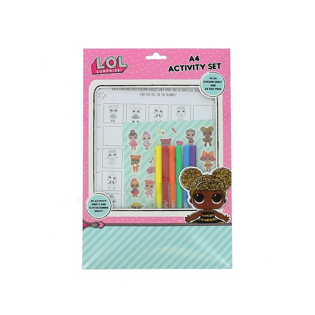 LOL Surprise A4 Activity Set - Colouring Stickers Felt Pens Activity Sheets