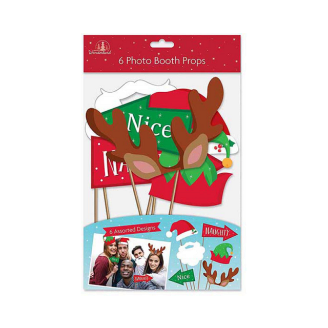 6 x Festive Photo Booth Props - Christmas Theme or New Years Party Great Fun