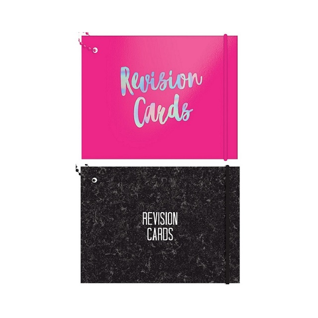 Revision Cards A6 60 Lined Sheets - 2 Designs Black Marble Or Neon Pink